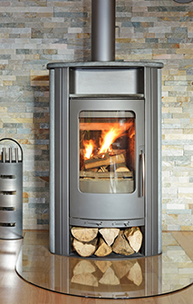 photo of a modern wood stove