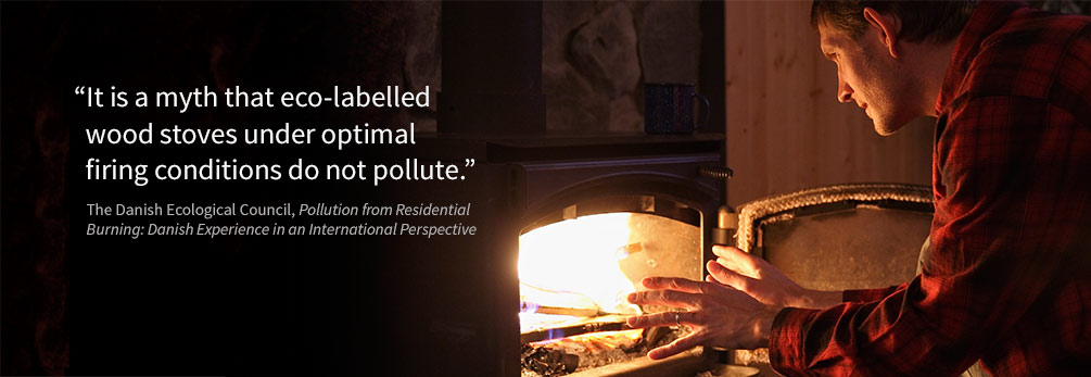 "Photo: ""It is a myth that eco-labelled wood stoves under optimal firing conditions do not pollute."""