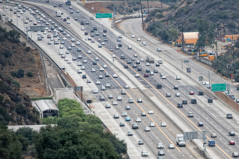 Photo: Aerial view of a Los Angeles freeway.
