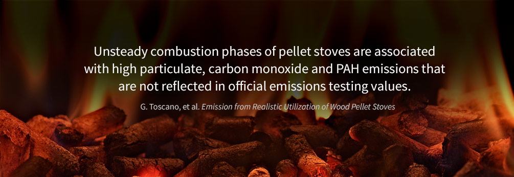Unsteady combustion phases of pellet stoves are associated with high particulate, CO and PAH emissions that are not reflected in testing values.